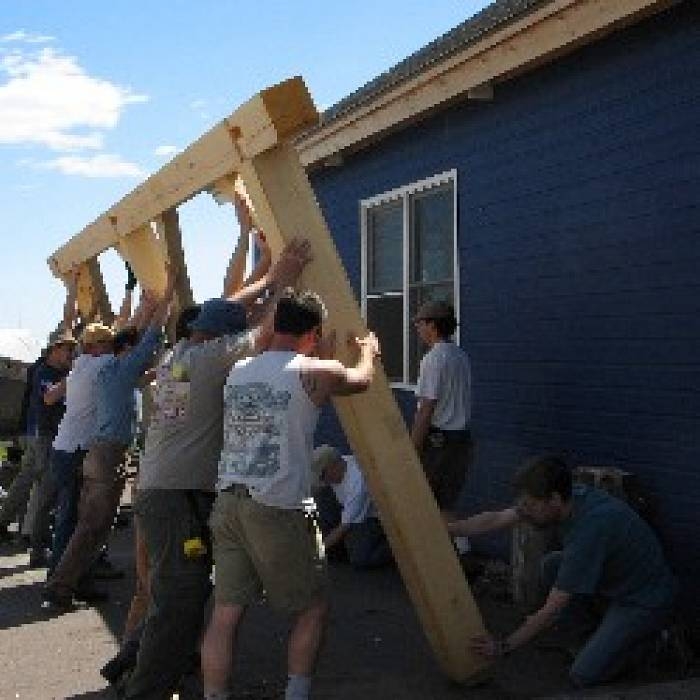 Teaser image for Hand Raising a Timber Frame: Service Learning Project