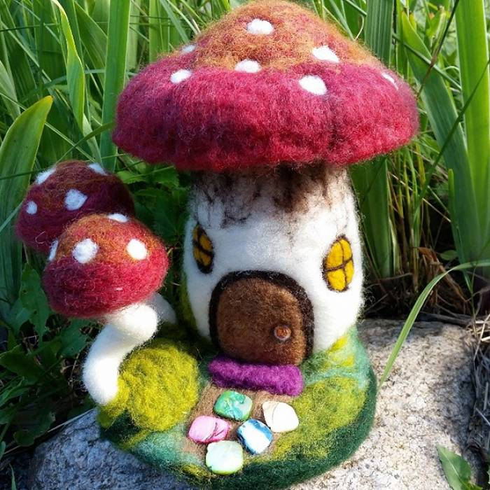 Teaser image for Intermediate Needle Felting: Mushroom House Online Course