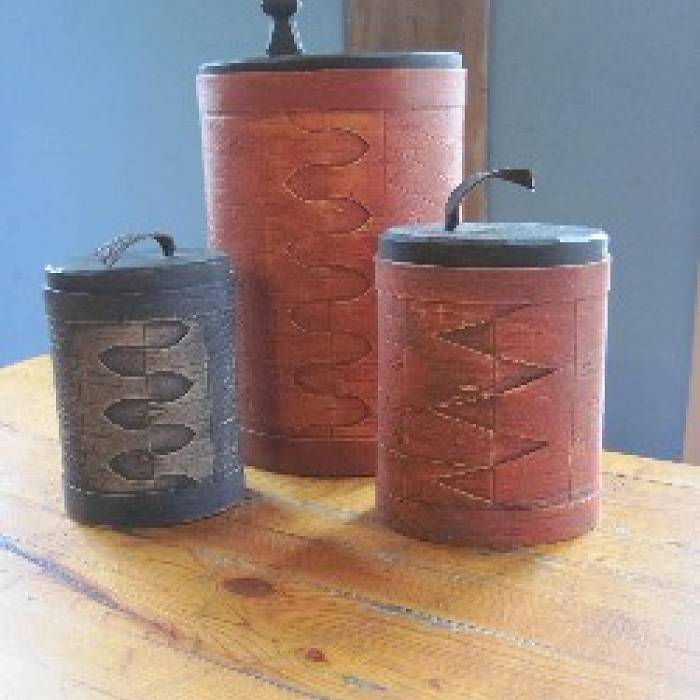 Swedish Decorated Birch Bark Canisters