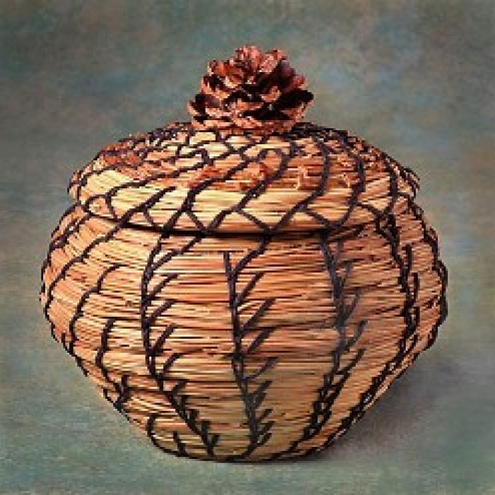 Coiled Basketry Stitching Techniques with Pine Needles