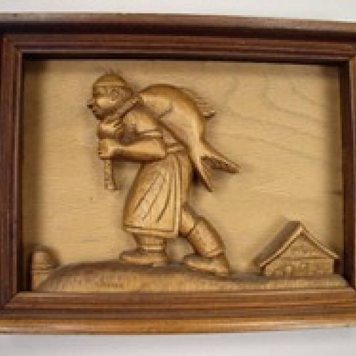 Relief carving fisherman figure and finishing techniques north