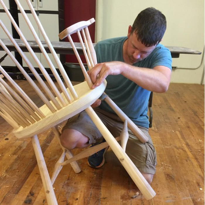 Window arm chair being built